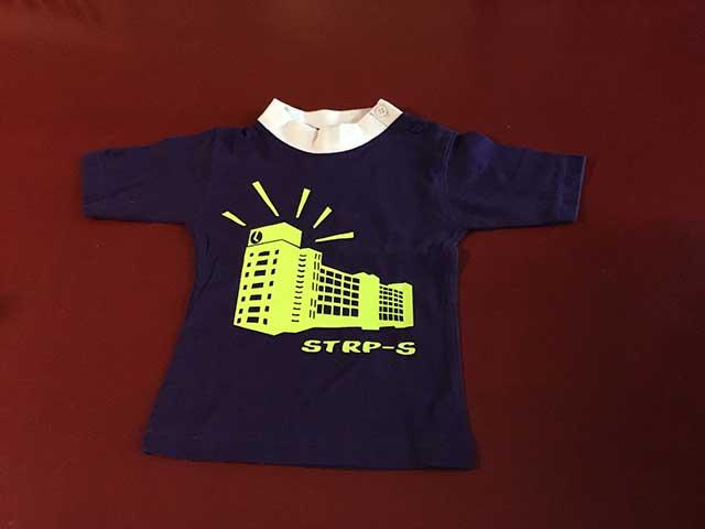 Baby t-shirt STRP-S geel op paars