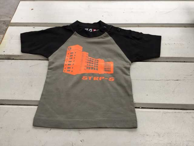 Baby t-shirt STRP-S oranje op grijs-zwart