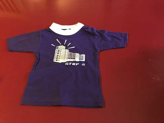 Baby t-shirt STRP-S zilver op paars