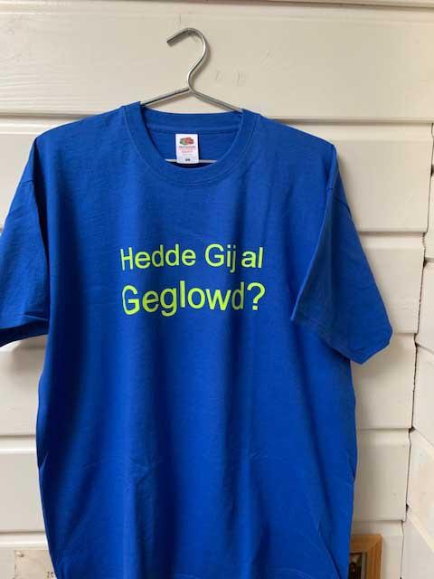 Heren t-shirt Hedde gij al geglowd geel fluorescerend op royal blue