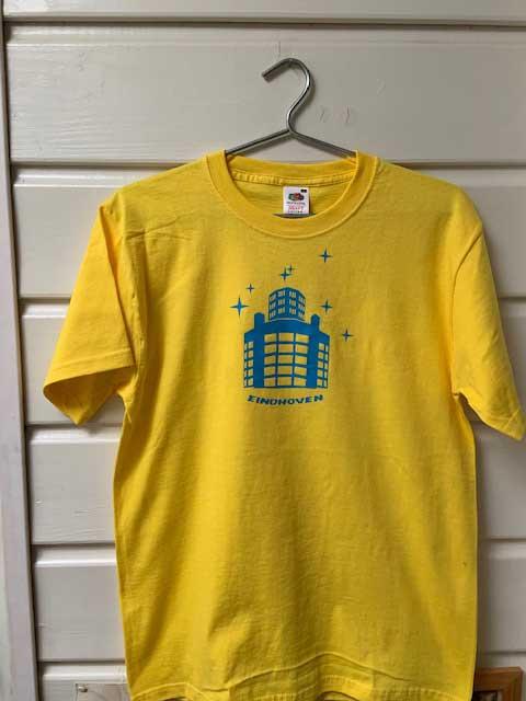 Heren t-shirt - Lichttoren geel met blauwe opdruk